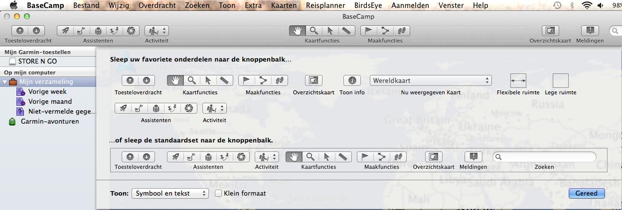 Werkbalken BaseCamp Mac